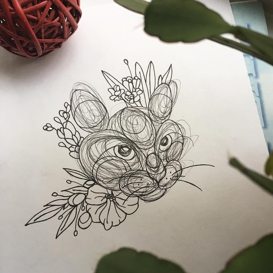 Art sketch black white dotworkartists blackart cat catart tattoo