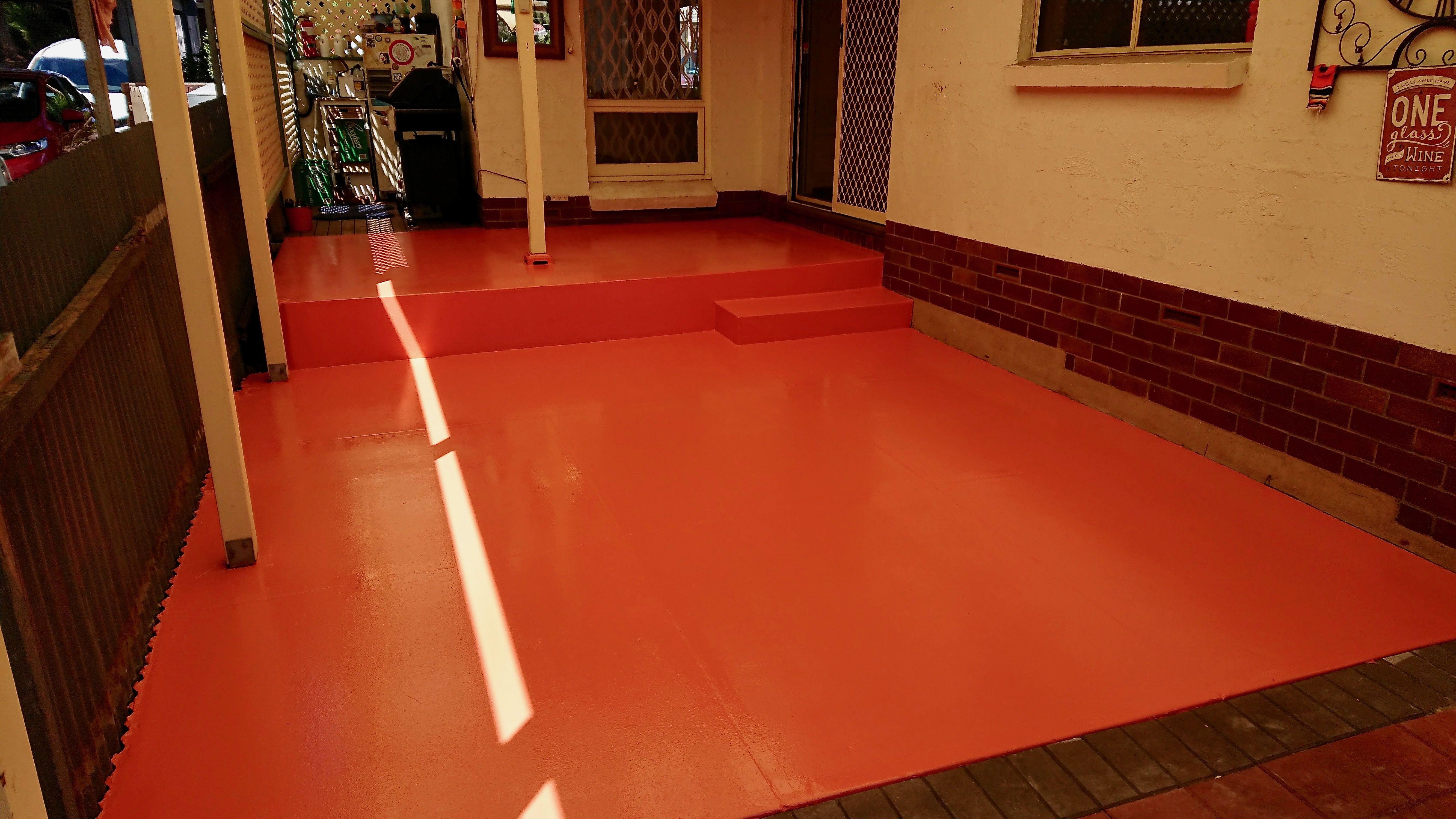 Adflex Epoxy Coating On Veranda In Colour Signal Red Epoxy Coating Epoxy Floor Veranda