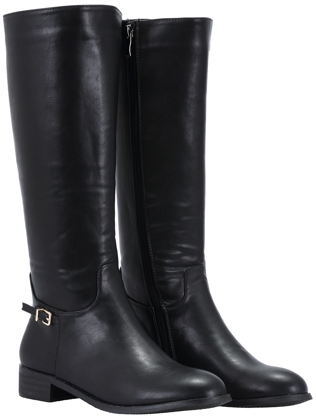 35991febac24 Black Zipper Buckle Strap Tall Boots 48.07