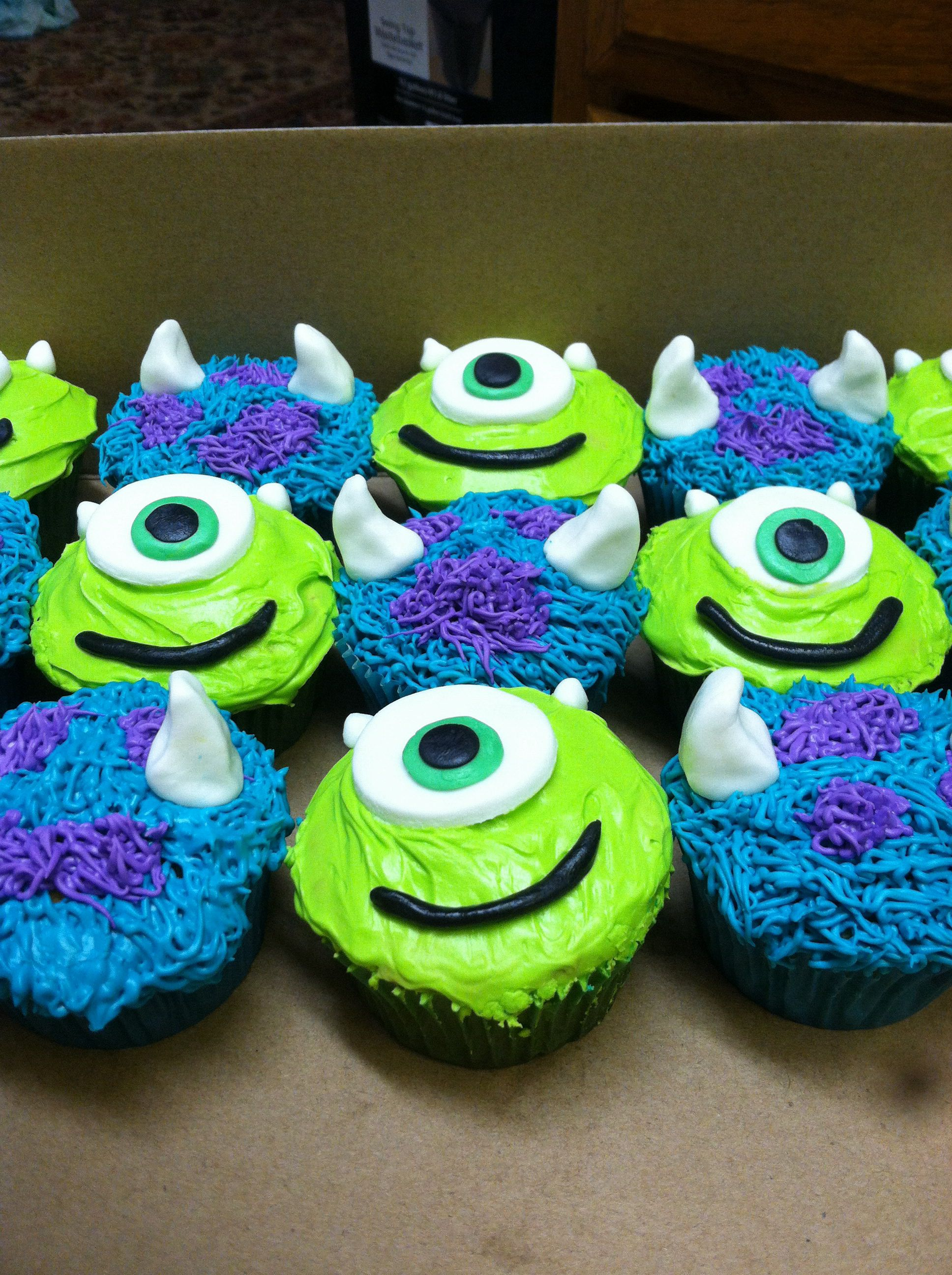 Cool Monster Inc Cupcakes With Images Monster Inc Cakes Monsters Personalised Birthday Cards Epsylily Jamesorg