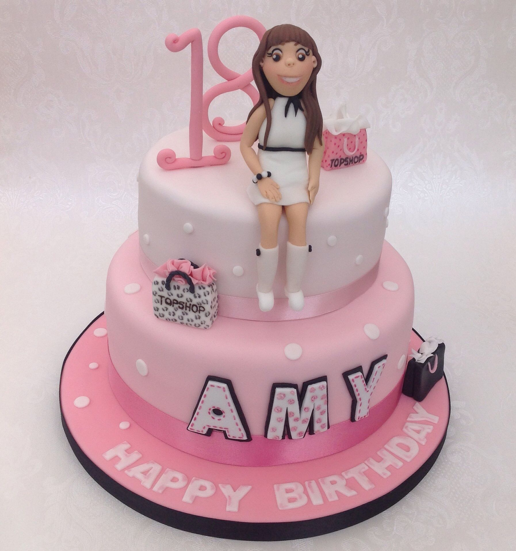 Top Shop 18th Birthday Cake Two Tier Vanilla Cake With Fondant And