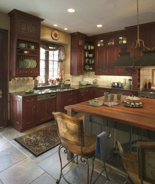 Learn Kitchen Design: Small Kitchen Design With Cherry Wood Cabinets