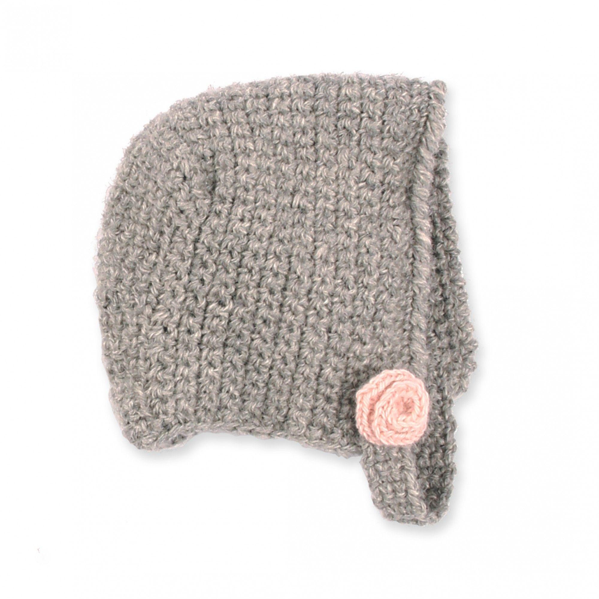 Béguin bébé gris et rose en laine d alpaga   Fiber Crafts ... 265a2a8bafe