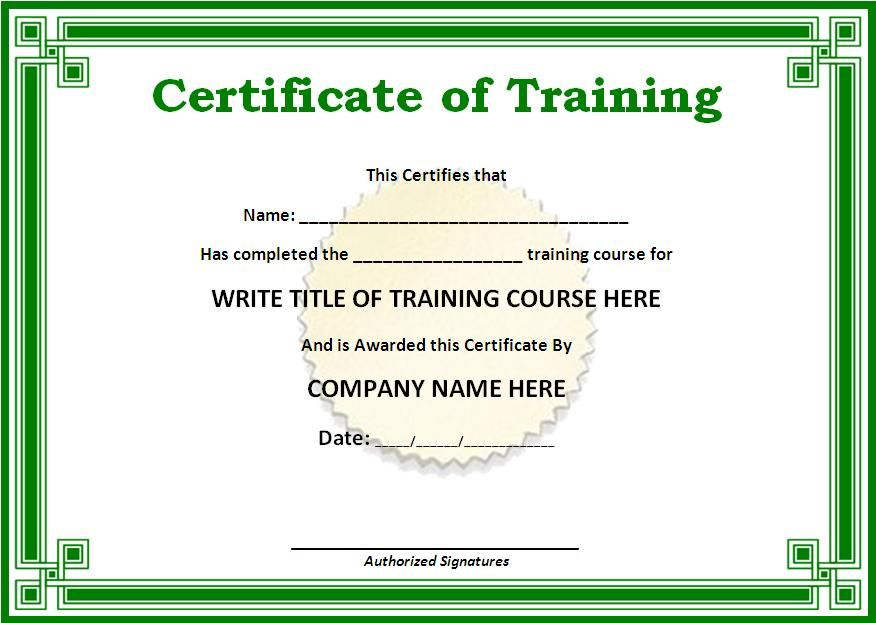 Training Certificate Templates for Word on the download - completion certificate format