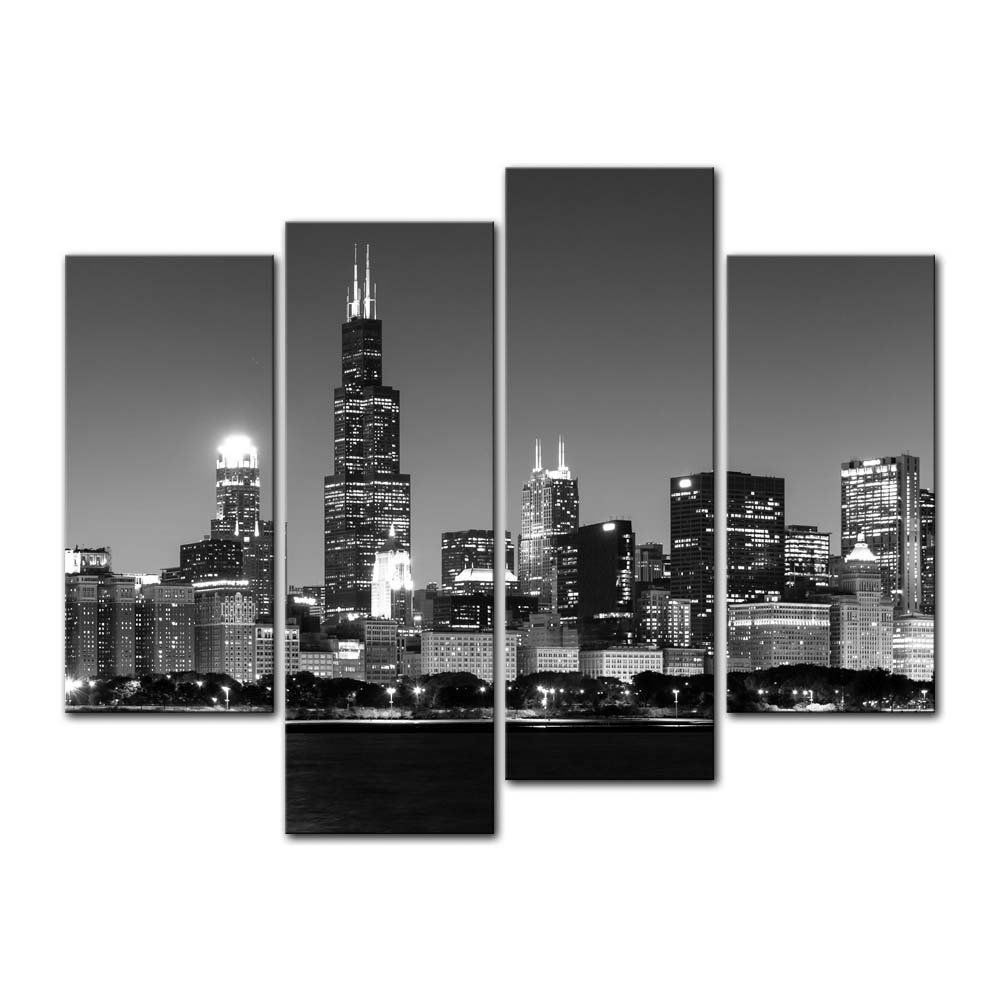 4 Pieces Modern Canvas Painting Wall Art Of Chicago Skyline At Night 51 80 Chicago Skyline Wall Art Modern Canvas Painting Wall Art Canvas Painting