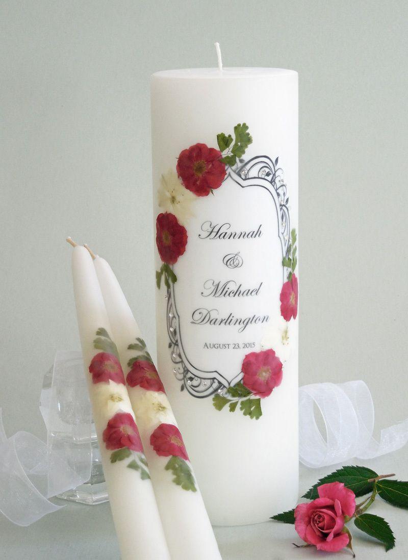 Vintage Red Rose and Crystal Personalized Wedding Unity Candle Set- Affordable Elegance Bridal -