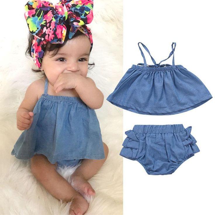Bebés Recién Nacidos Fuera Del Hombro Vestidos De Mezclilla
