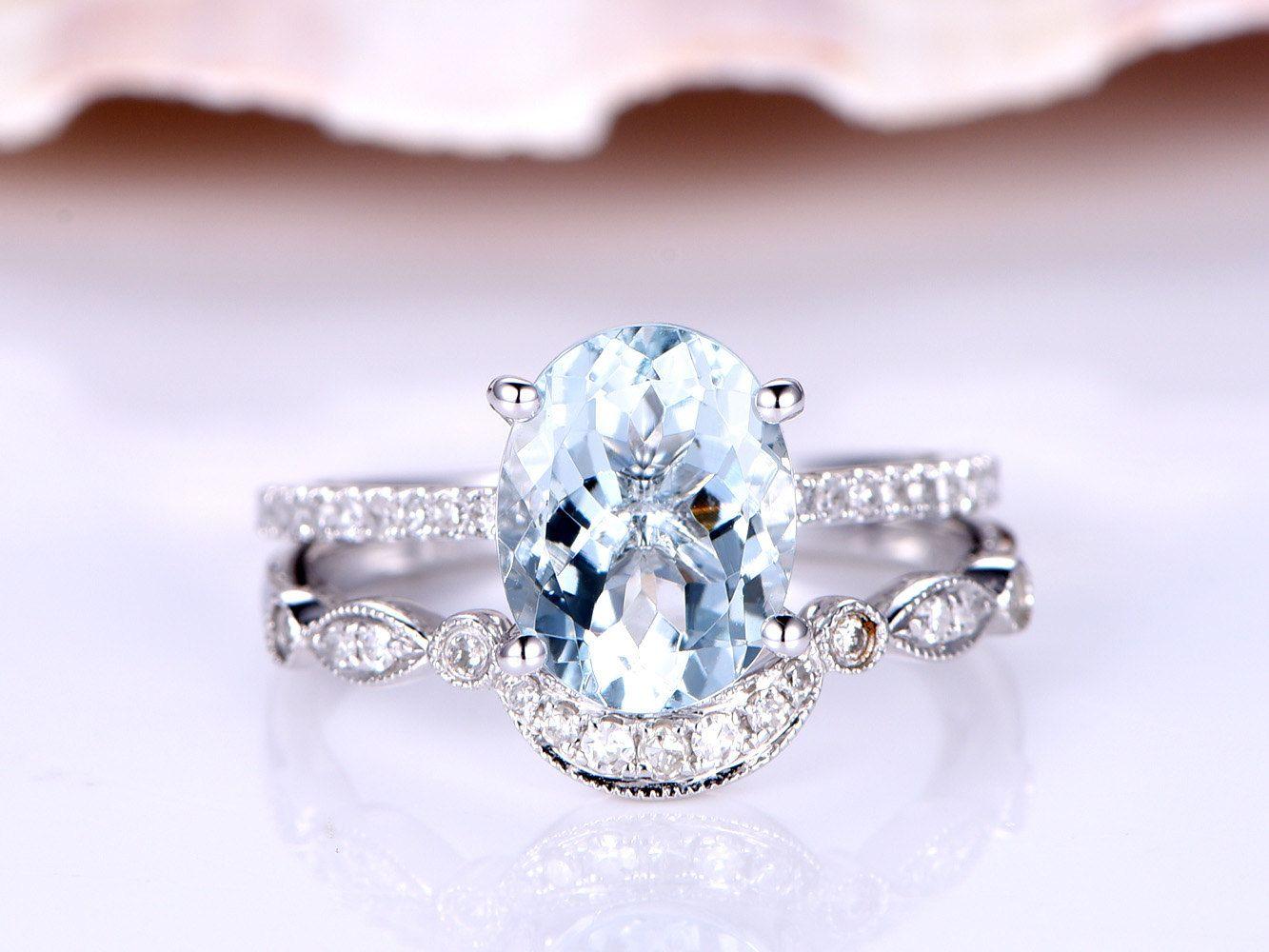 aquamarine wedding rings Aquamarine wedding ring set mm Oval Aquamarine engagement ring Art deco matching band vintage style blue stone solid 14k white gold