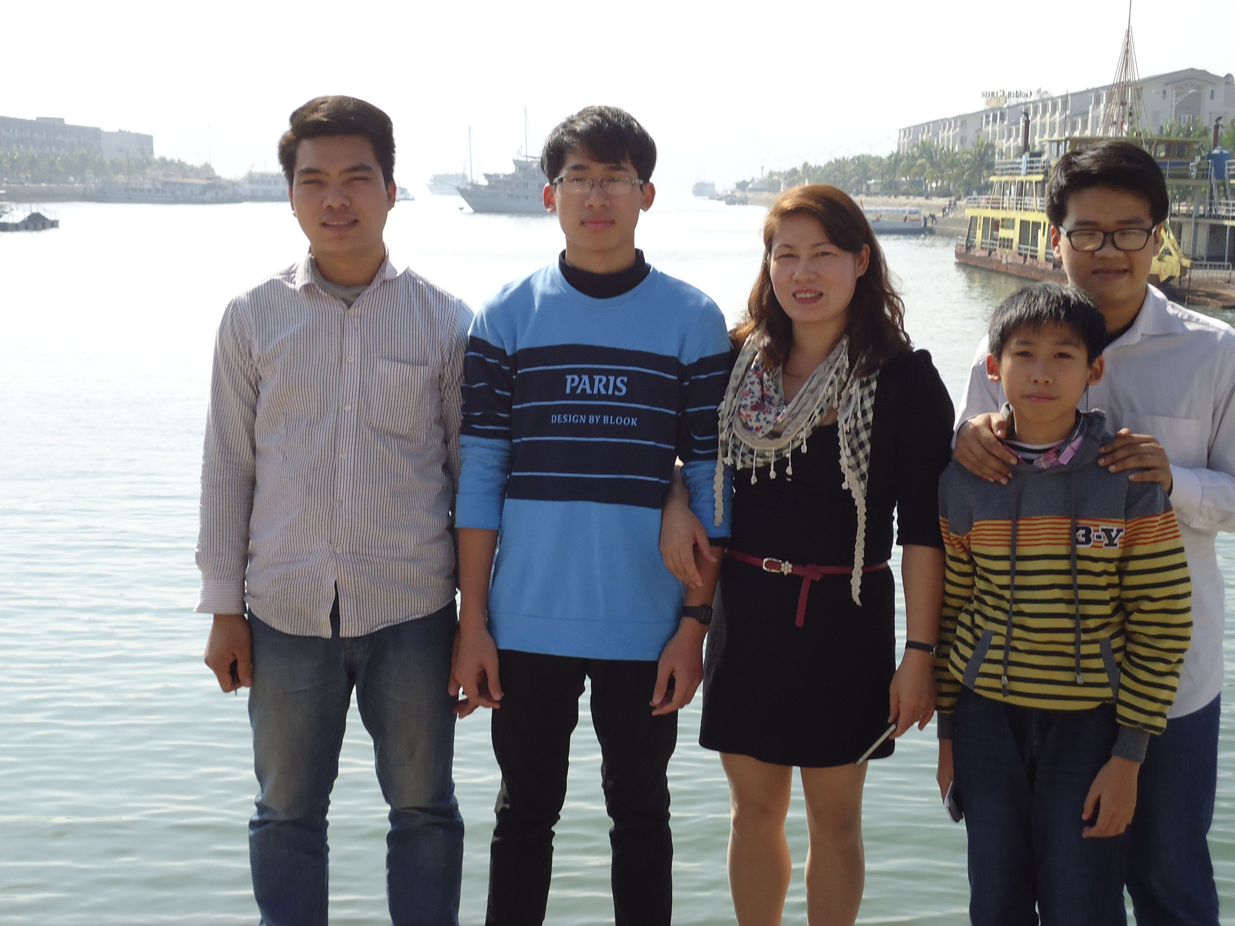 New World English Centre's Mrs Hong her two boys nephew and a friend. New year's eve at Ha Long Vietnam