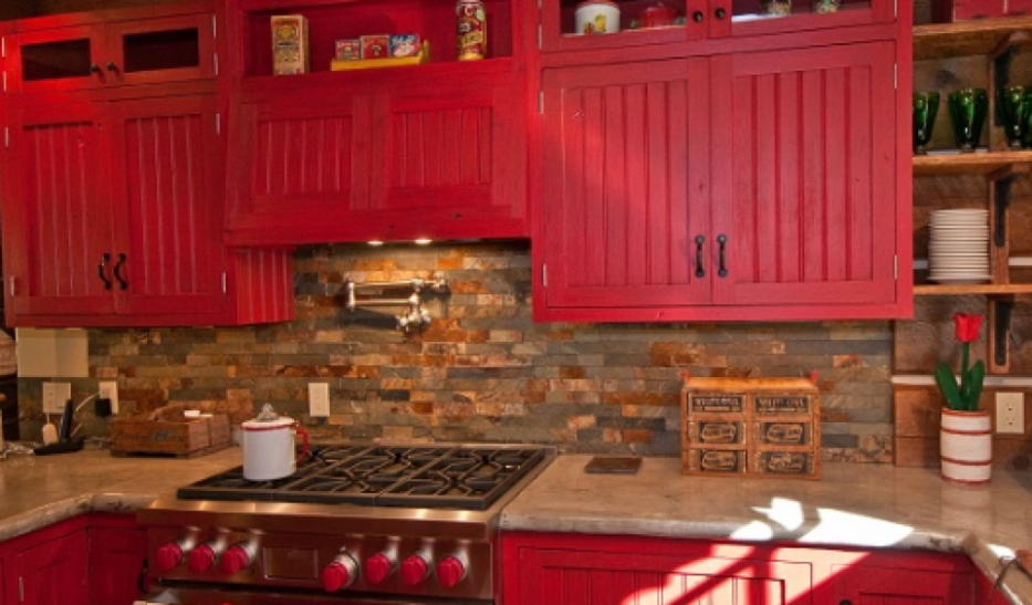 French Country Kitchen Red Color Ideas