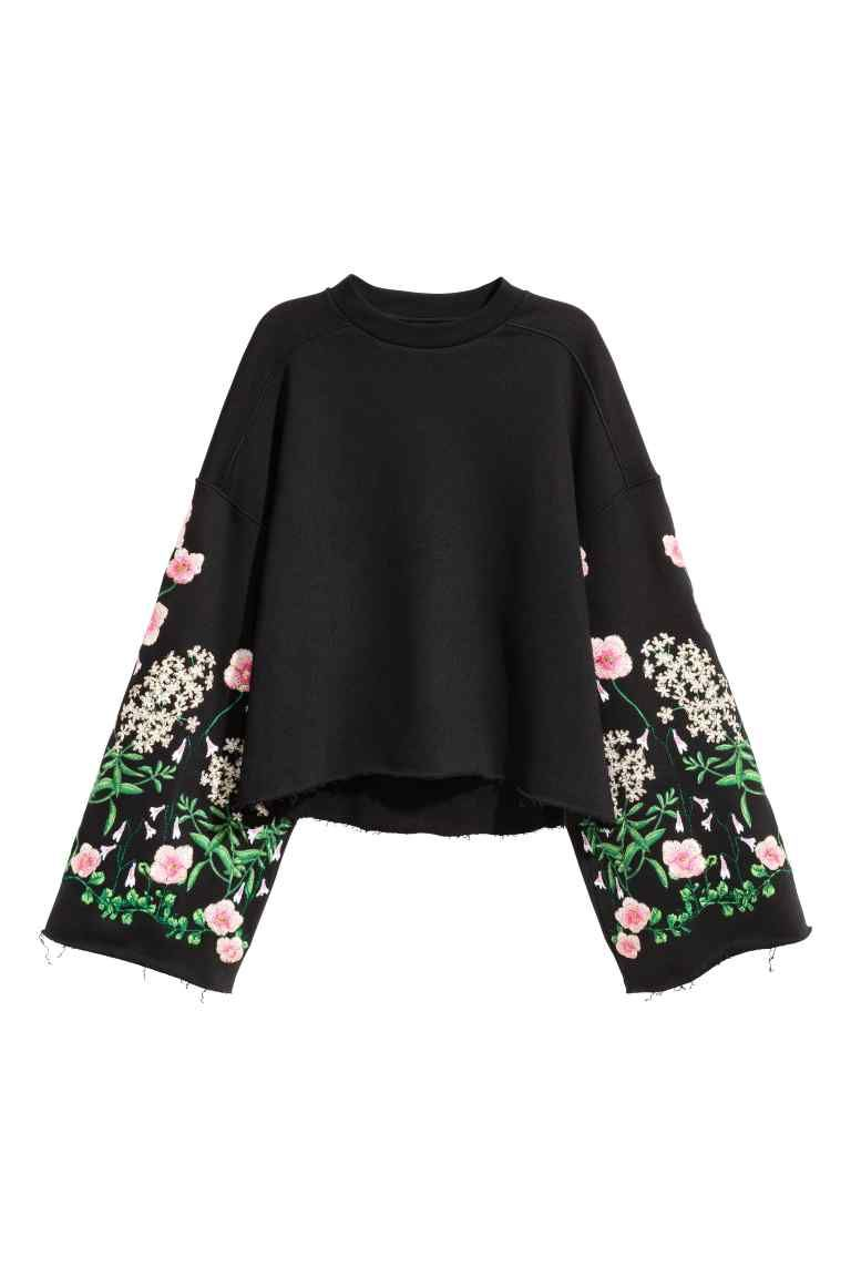 Embroidered sweatshirt - Black Floral - Ladies  4c0c75e72b074