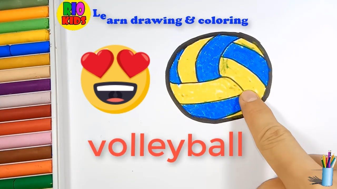 Draw And Color Volleyball How To Teach Baby English Teaching Kids Learning Color
