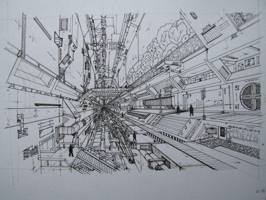 Line Art City : Black white city background vector illustration of