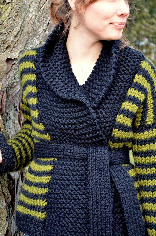 Green and Black Striped Shawl Collar Sweater | Knit, Knit, KNIT ...