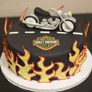 Harley Davidson Cake  with Custom Fondant Harley Motorcycle...via: cocoaandfig.com @Maha Badran