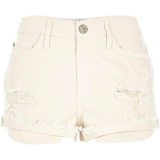Beige ripped Ruby denim shorts £30 #riverisland #RI | Summer ...