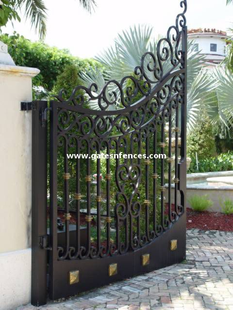 Classic Streamlined Wrought Iron Entry Gate With Custom Scroll