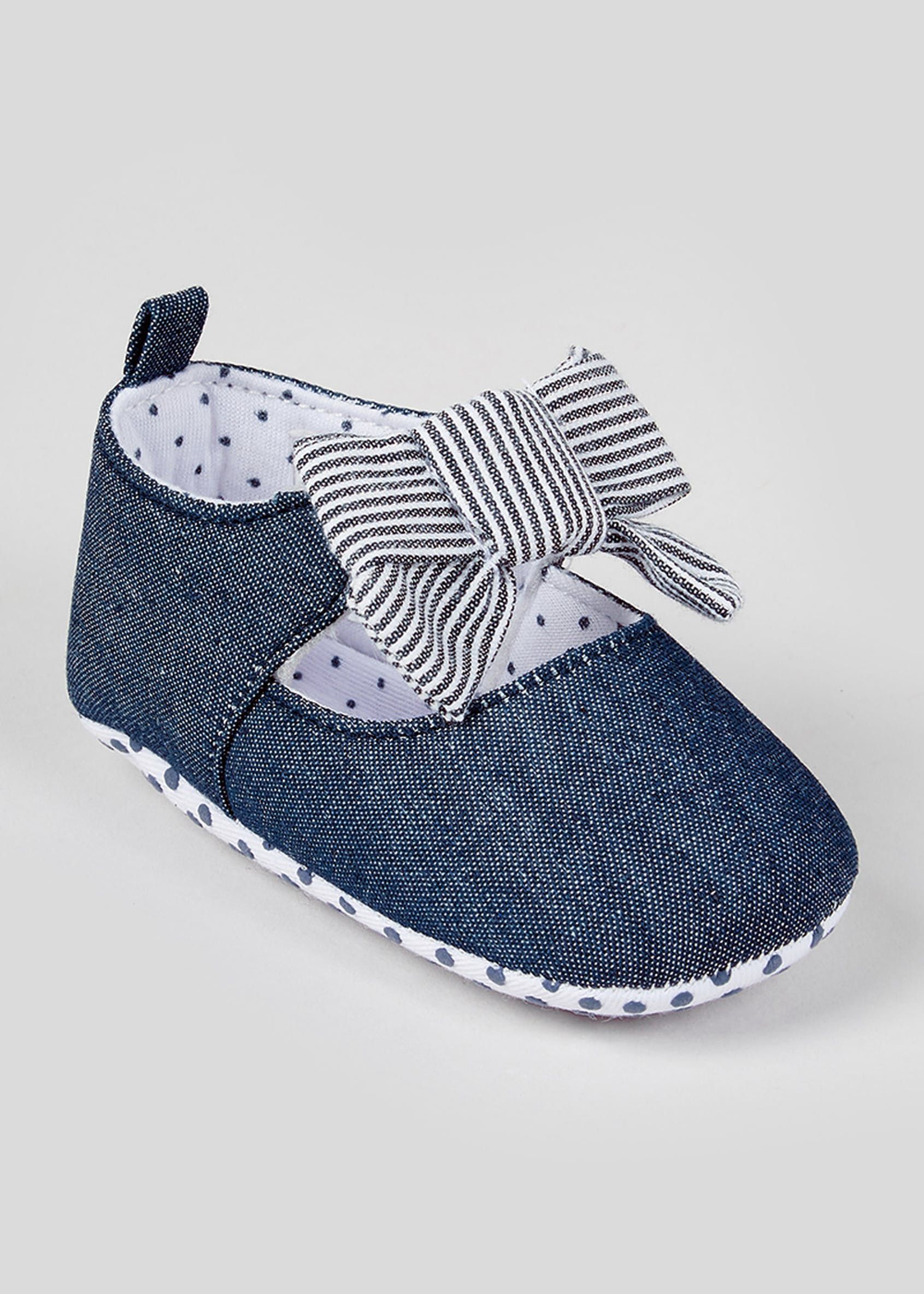 Girls Soft Sole Bow Baby Shoes (Newborn