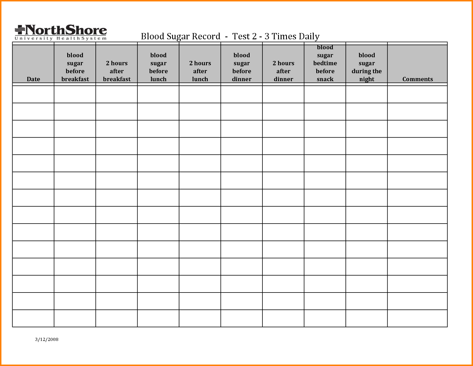 Pin Weekly Blood Glucose Log Sheet On   Diabetic Meal