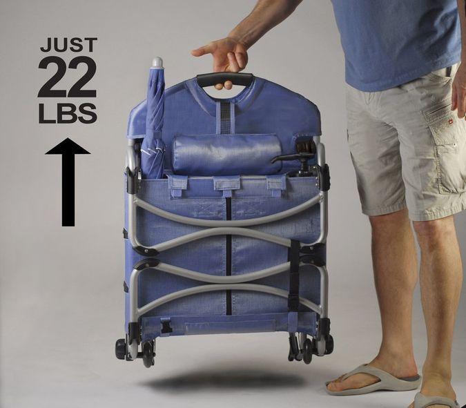 Loungepac The Portable Beach Chair Featuring A Fridge