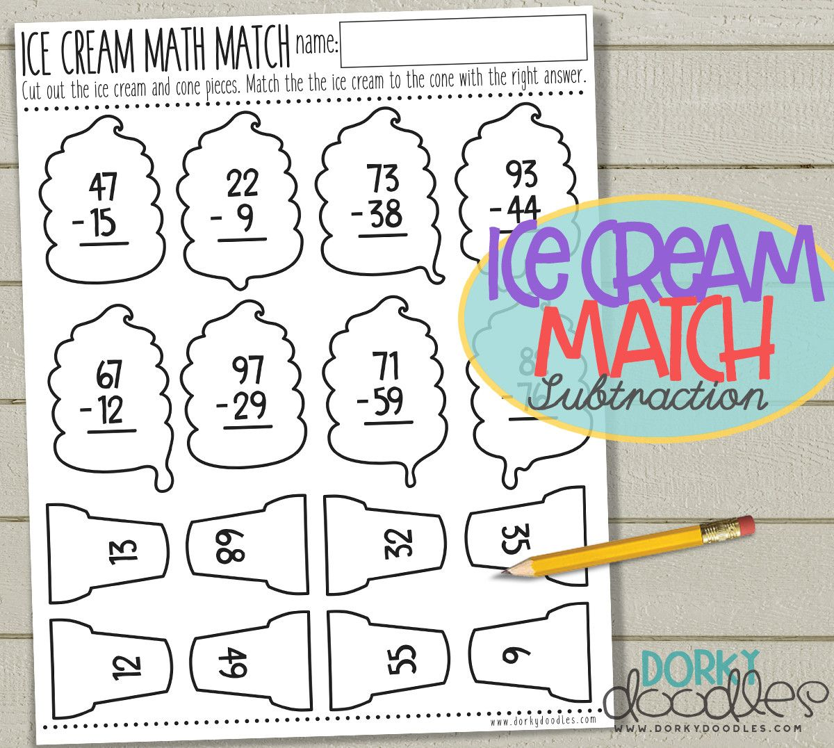 Ice Cream Math Match Printable
