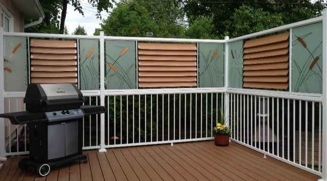 Lovely Painted Glass   Privacy Deck Railing