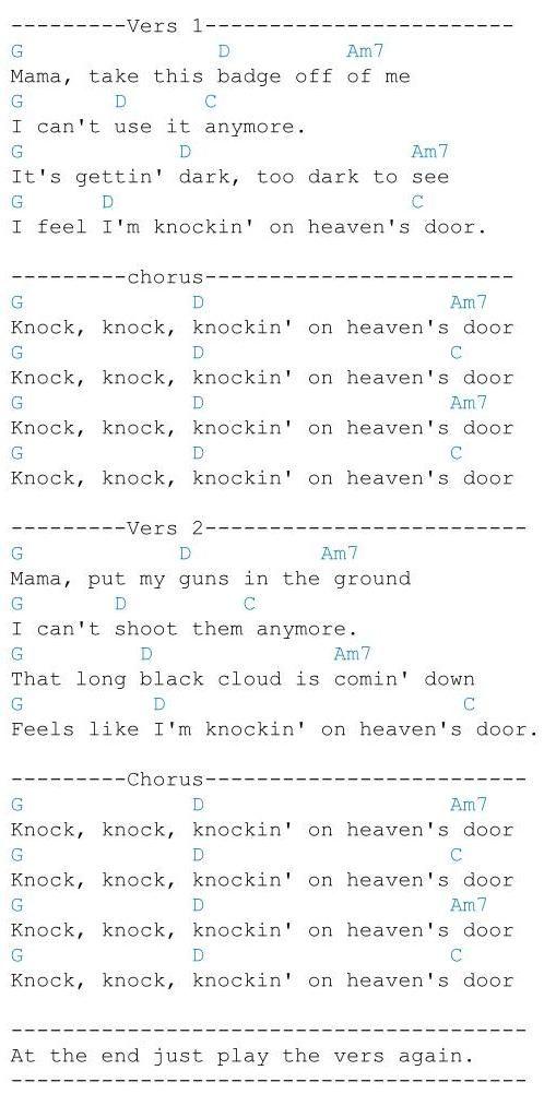 Knockin On Heavens Door Dylan Sangtekster Og Musikk