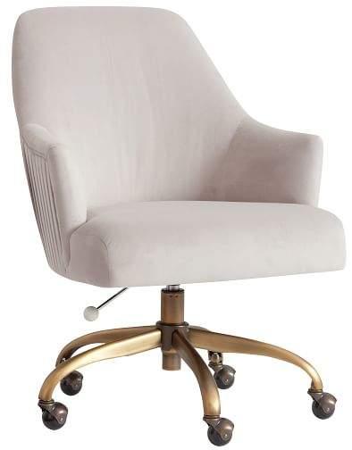 Pleated Desk Chair Velvet Gray W Antique Brass Base Room Ideas