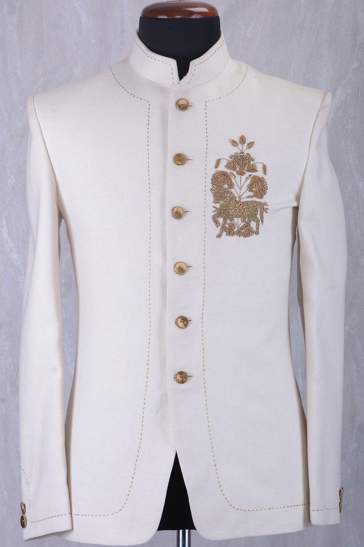09cc0ed9eb Buy Off White Jute Zardosi Embroidered Jodhpuri Suit Online Samyakk  Bangalore