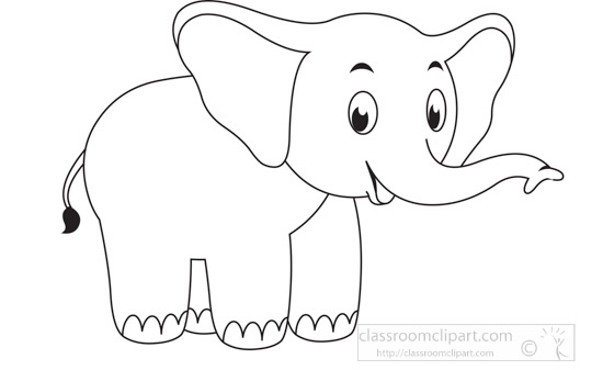 Animals Black And White Outline Clipart Cute Elephant Animal Educational Clip Art Graphic Black White Outl Animal Outline Clip Art Pictures Elephant Clip Art