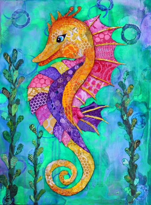 Seahorse in 2019   Torn Paper Collage   Seahorse painting ...