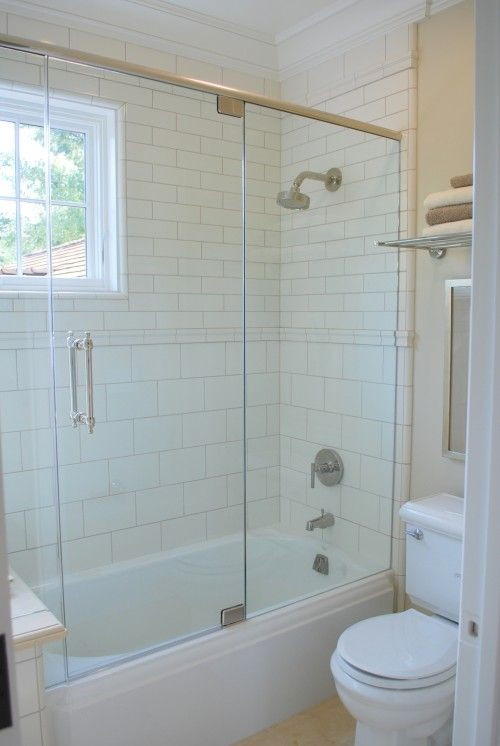 Glass Doors Look Really Nice And Would Get Rid Of The Need For A Shower Curtain Now If I Could Only Fi Glass Shower Tub Bathroom Tub Shower Window In Shower