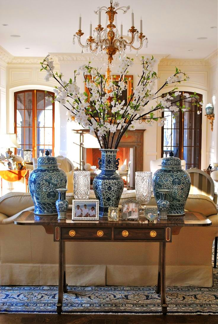 living room Chinese Living Room Vases And Decorations With White Blue Print Decorative Jars Also