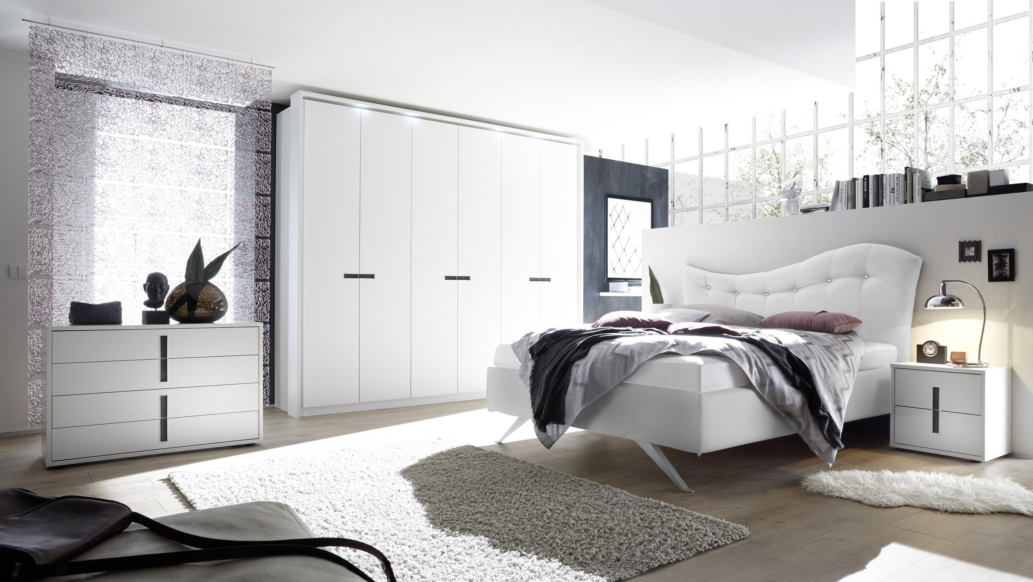 Schlafzimmer Mit Bett 180 X 200 Cm Weiss Lack Matt/ Anthrazit Woody  12 01175 Holz Modern Jetzt Bestellen Unter: ...