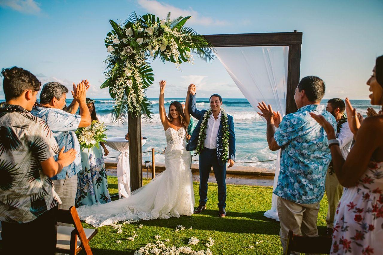 Tropical Modern Hawaiian Floral Arch Oceanfront Wedding Ceremony Oceanfront Wedding Kauai Wedding Kauai Wedding Photography