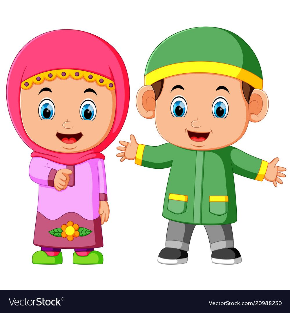 Happy Muslim Kid Cartoon Vector Image On