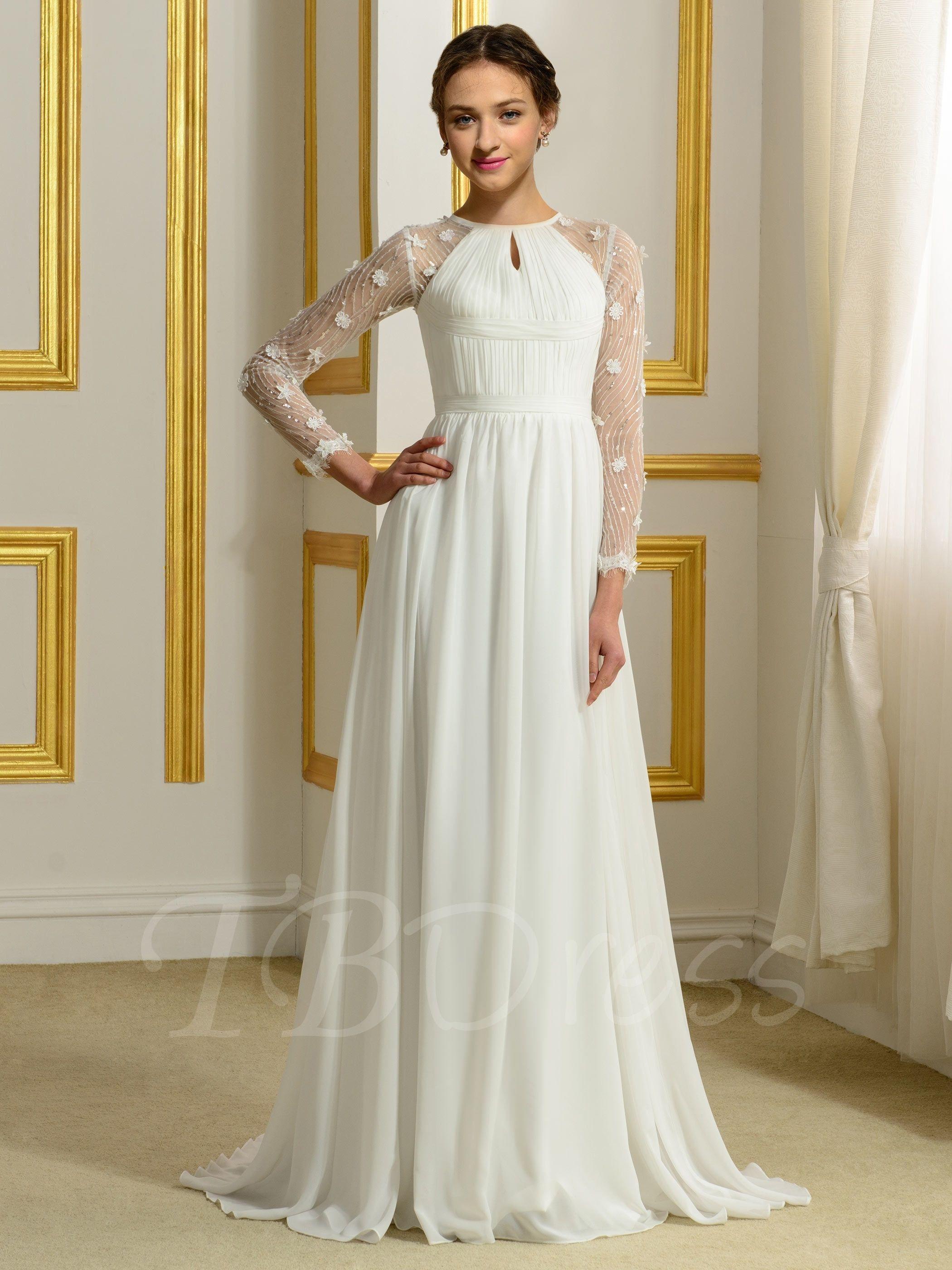 ALine Long Sleeves Flowers Chiffon Beach Wedding Dress
