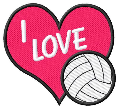 I Love Volleyball Embroidery Design Embroidery Designs Volleyball My Love