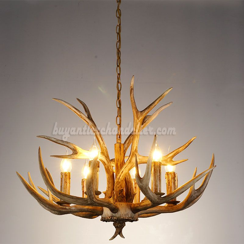 Cheap 6 Antler Chandelier Six Cast Cascade Candle Style Ceiling