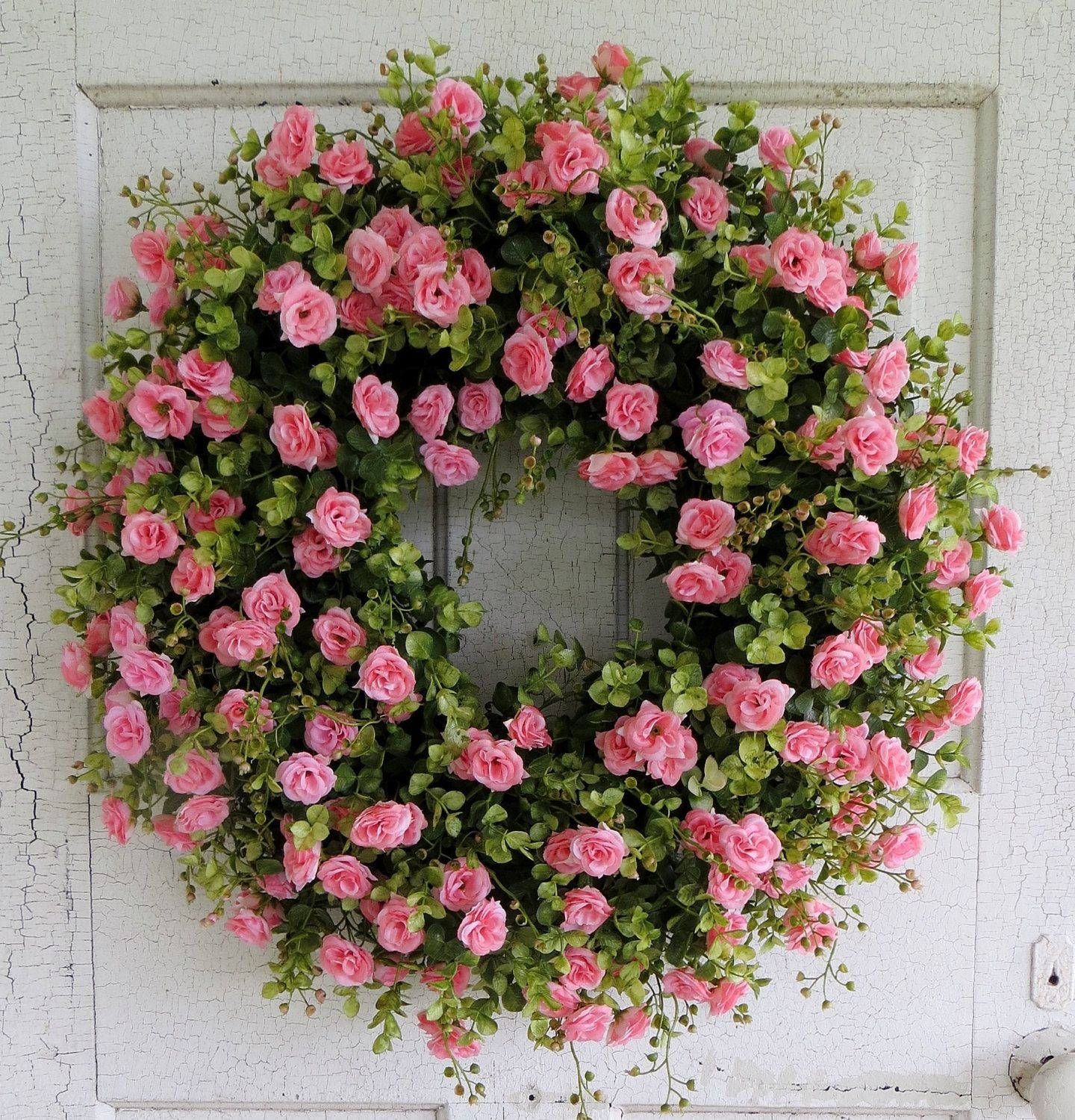 Photo of Pink tea rosary, summer wreath, eucalyptus wreath, wonderful front door wreath, pink rose with a hint of peach