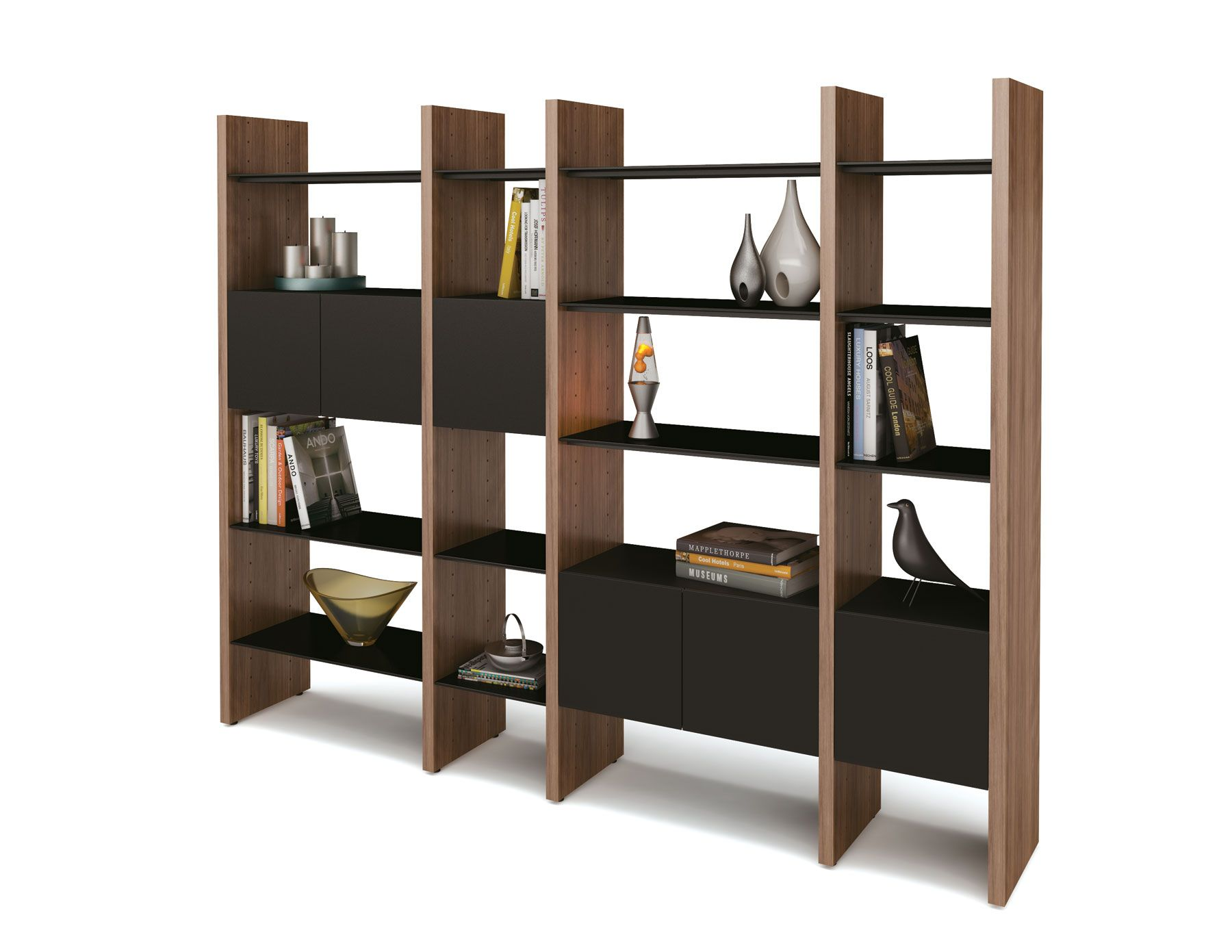 Marvelous Enchanting Wooden Modular Shelving Unit Design Idea With Walnut Wood Frames  And Black Wood Shelves And