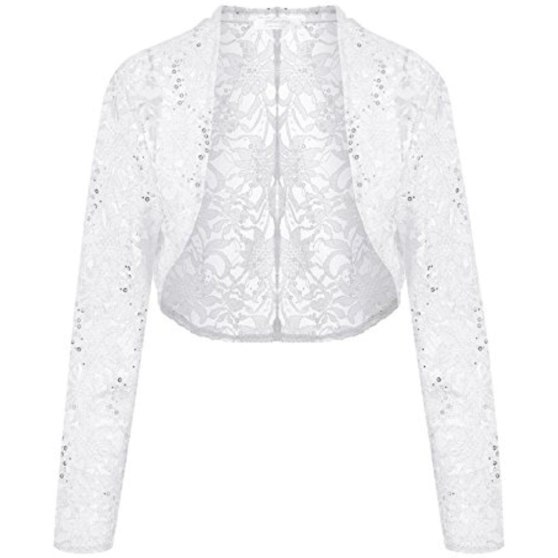 72dffbdb25f Women Lace Sweater Long Sleeves Lace Crochet Bolero Crop Cardigan ...
