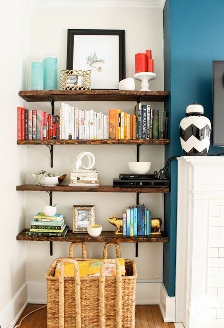 Open shelving next to fireplace
