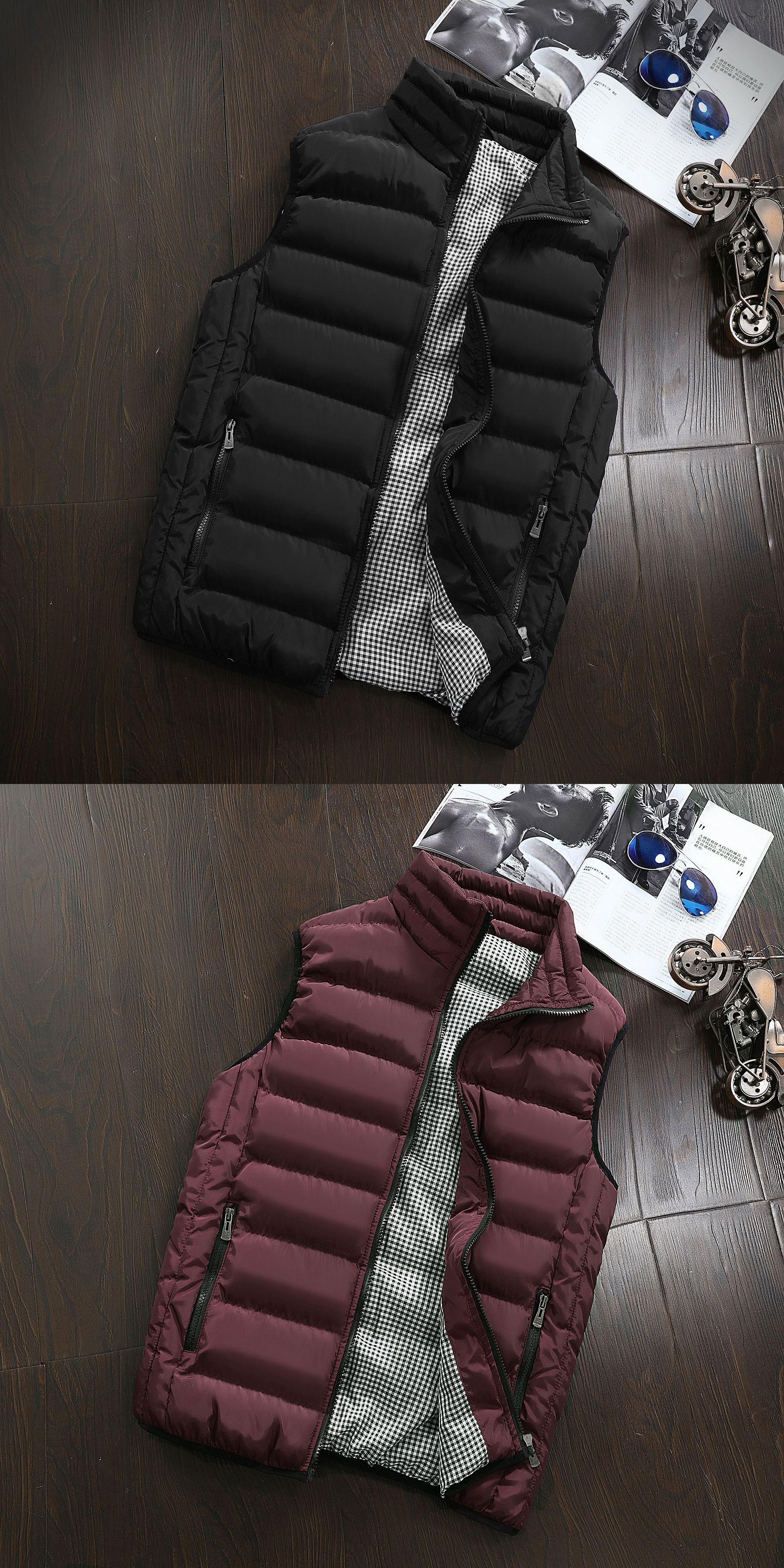 Mens jacket sleeveless vest winter fashion casual slim coats brand