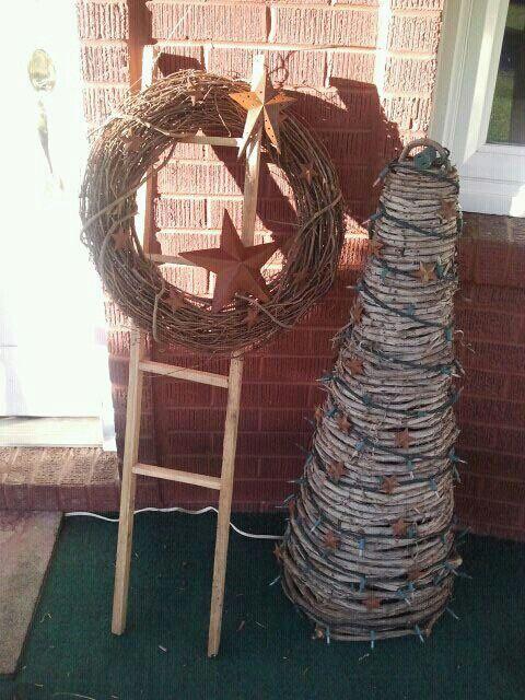 Tomato stake ladder and grapevine Prim <3