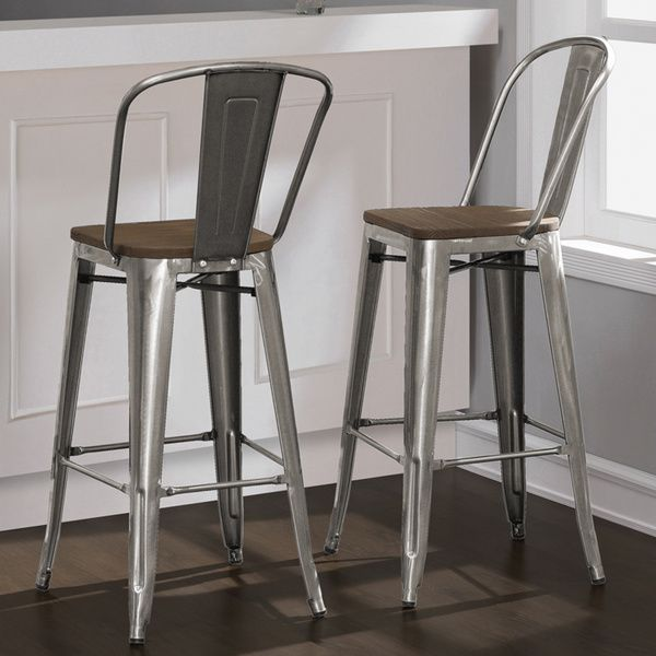 Tabouret Bistro Wood Seat Gunmetal Finish Bar Stools (Set of 2) - Tabouret Bistro Wood Seat Gunmetal Finish Bar Stools (Set Of 2
