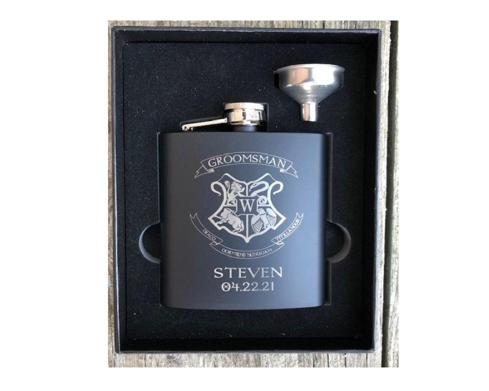 Harry potter flask engraved flask 2 piece flask funnel