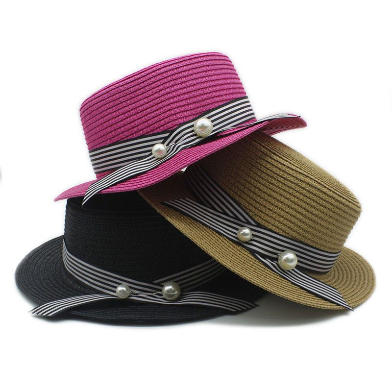 Women Summer Straw Flat Top Fedora Hat Summer Lady Panama Beach Sun ... 3270e9dbc1f5