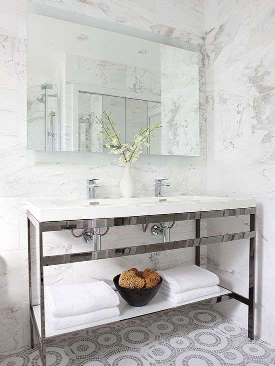 Perfect An Open Bathroom Vanity Like This Table Inspired Design Is A Smart Choice  For The Minimalist Whose Extra Bath Supplies Are Stashed In A Nearby Linen  Closet.
