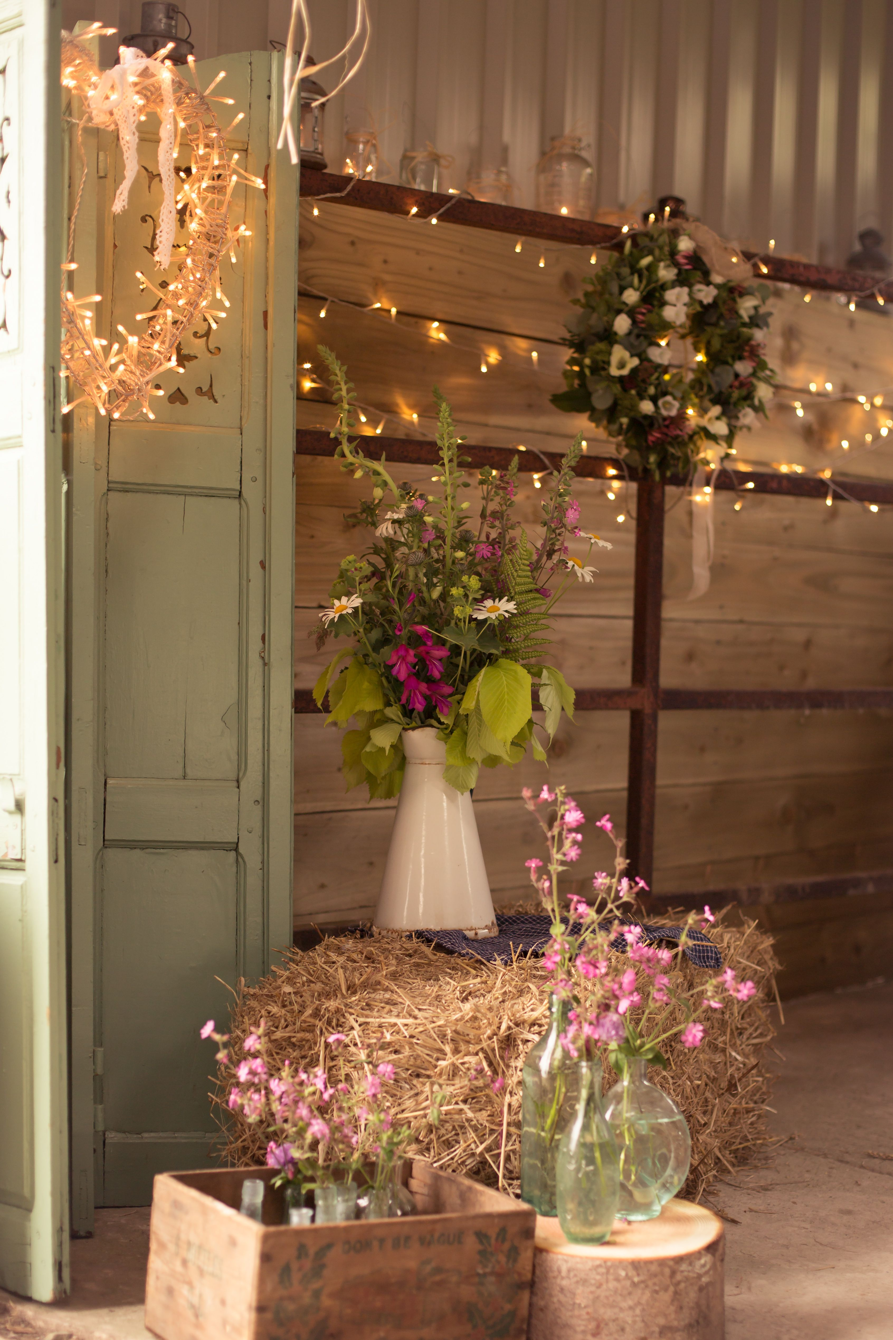 Fairy Lights In A Barn With Rustic Decoration Barn Wedding